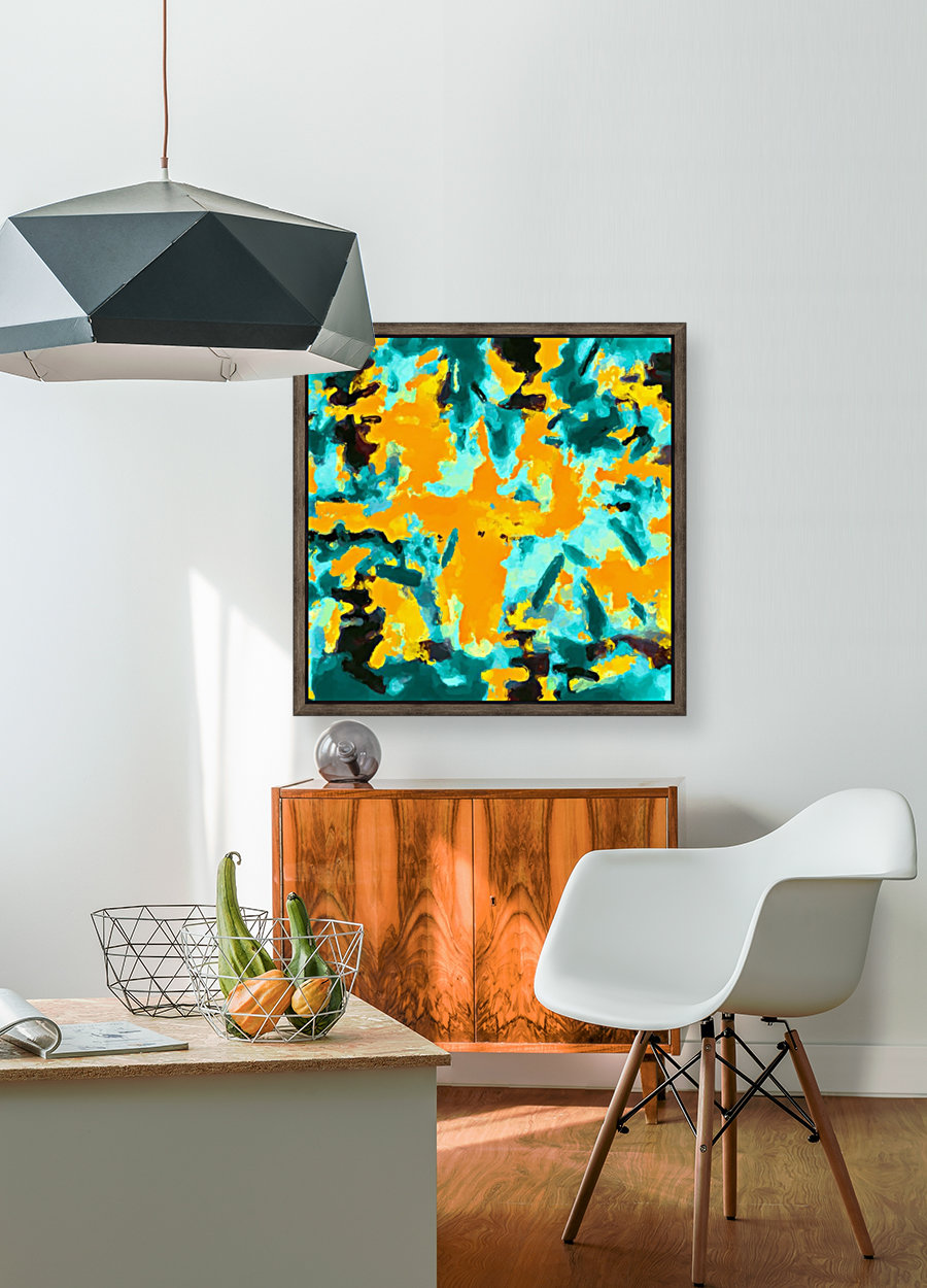 splash painting texture abstract background in green and orange  Art