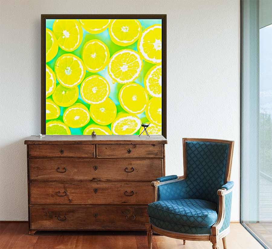 juicy yellow lemon pattern abstract with green background  Art