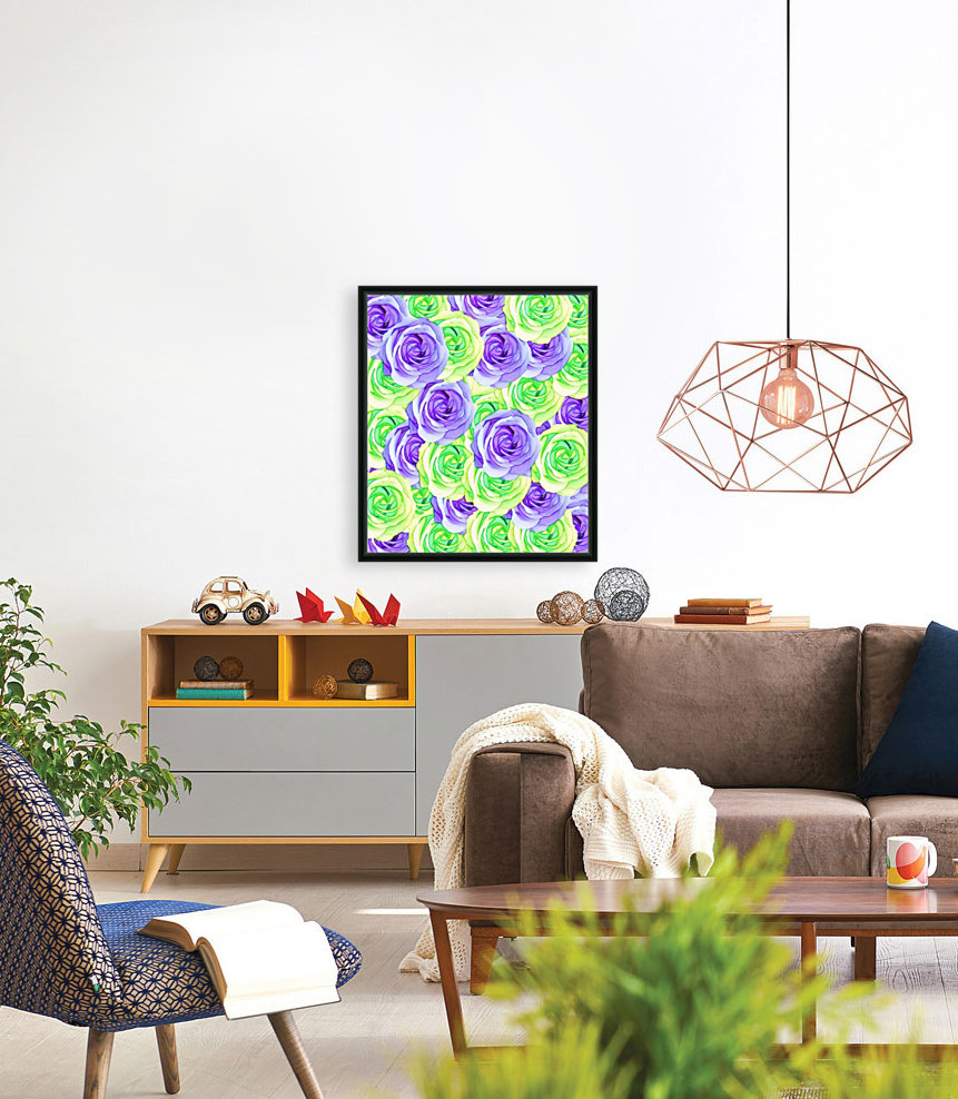 purple rose and green rose pattern abstract background  Art