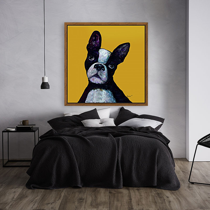 BOSTON TERRIER ON YELLOW  Art