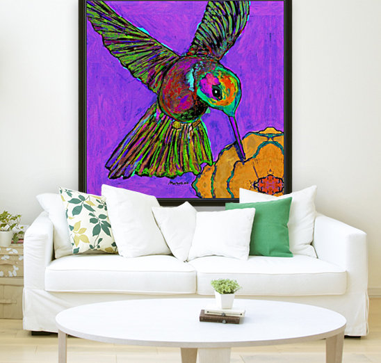 HUMMINGBIRD ON PURPLE with Floating Frame