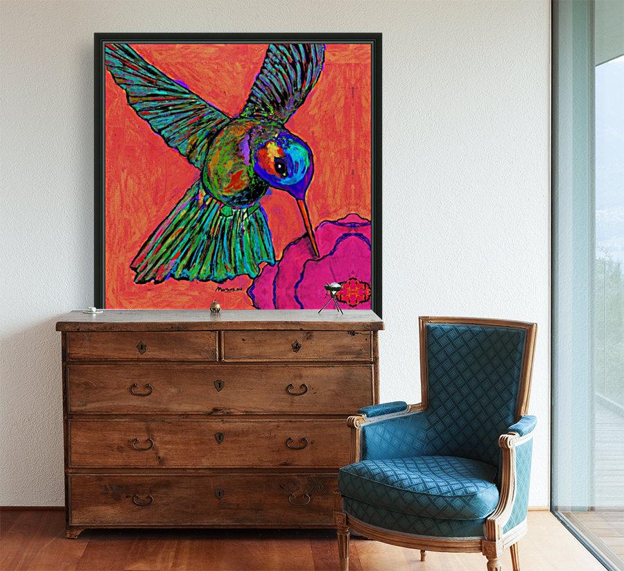 HUMMINGBIRD ON ORANGE  Art