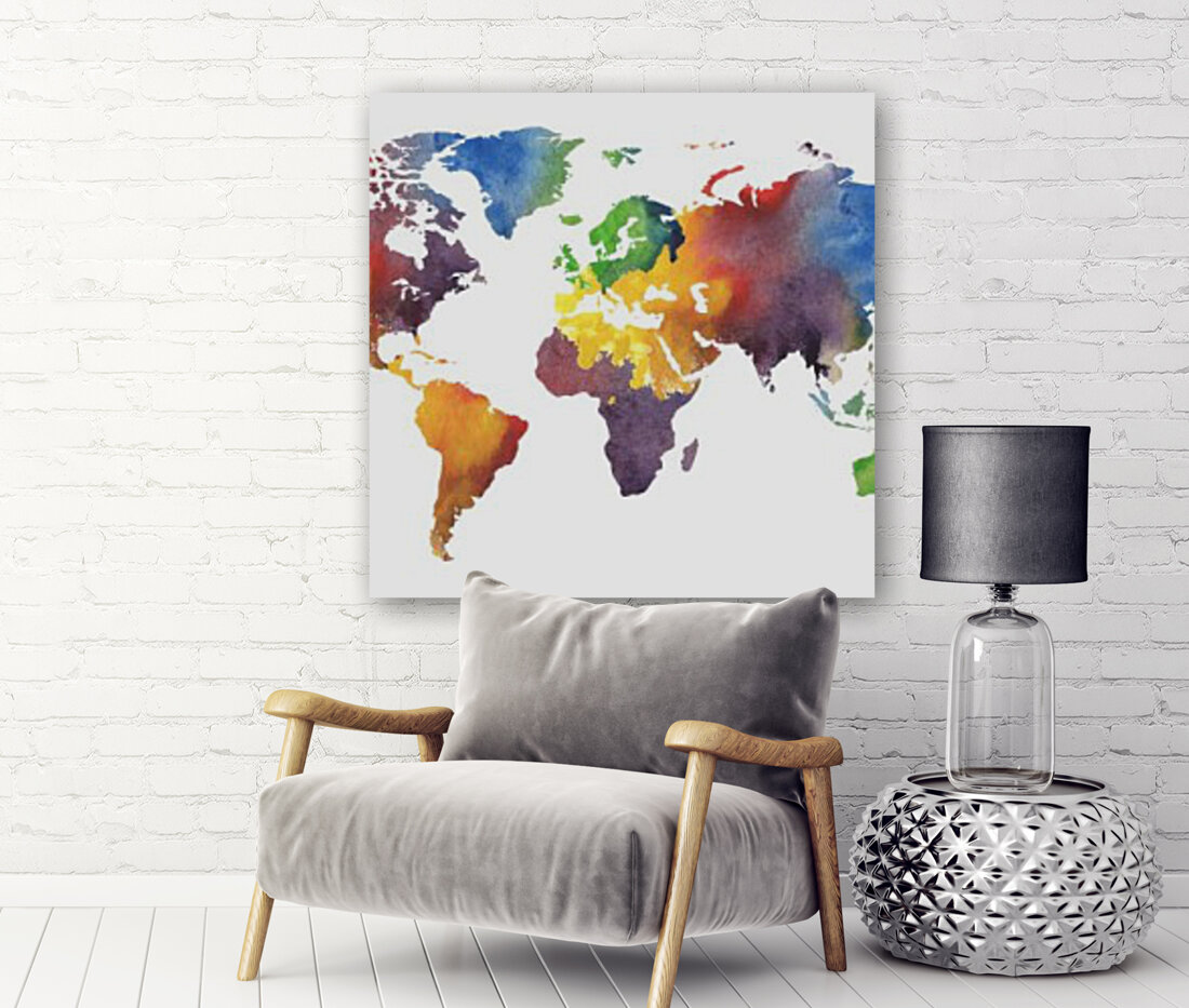 Colorful Map Of The World Watercolor  Art