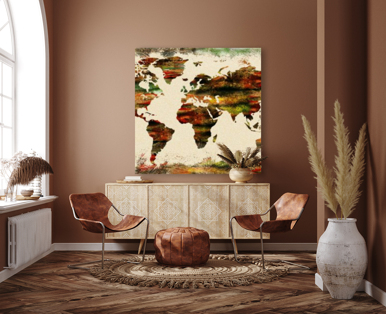 World Map Decorative Painting  Art
