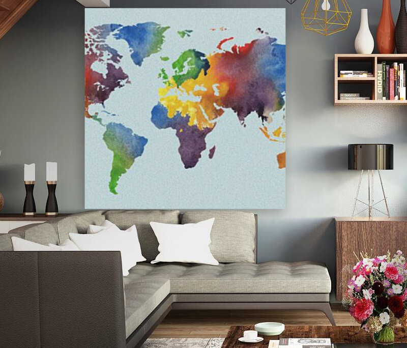 Bright Watercolor Map Of The World  Art