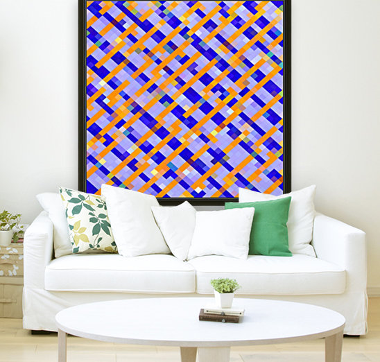 geometric pixel square pattern abstract background in orange blue purple  Art