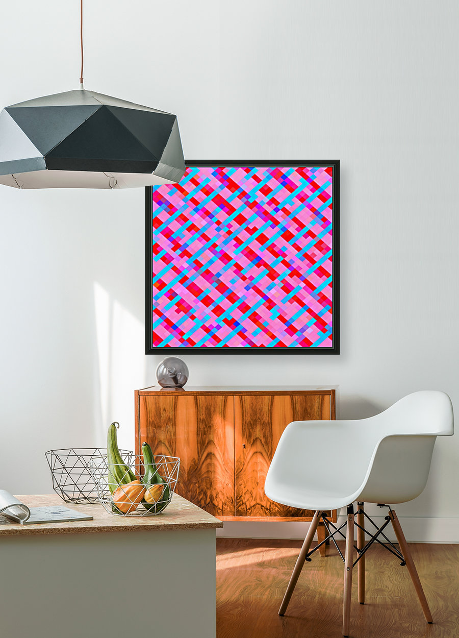 geometric pixel square pattern abstract background in pink blue red  Art