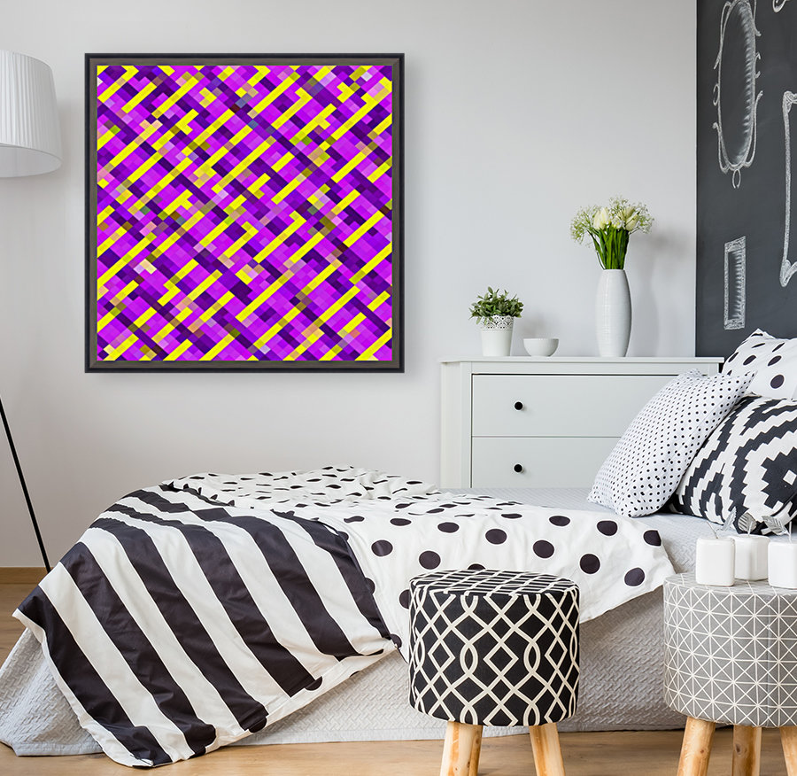 geometric pixel square pattern abstract background in pink purple yellow  Art
