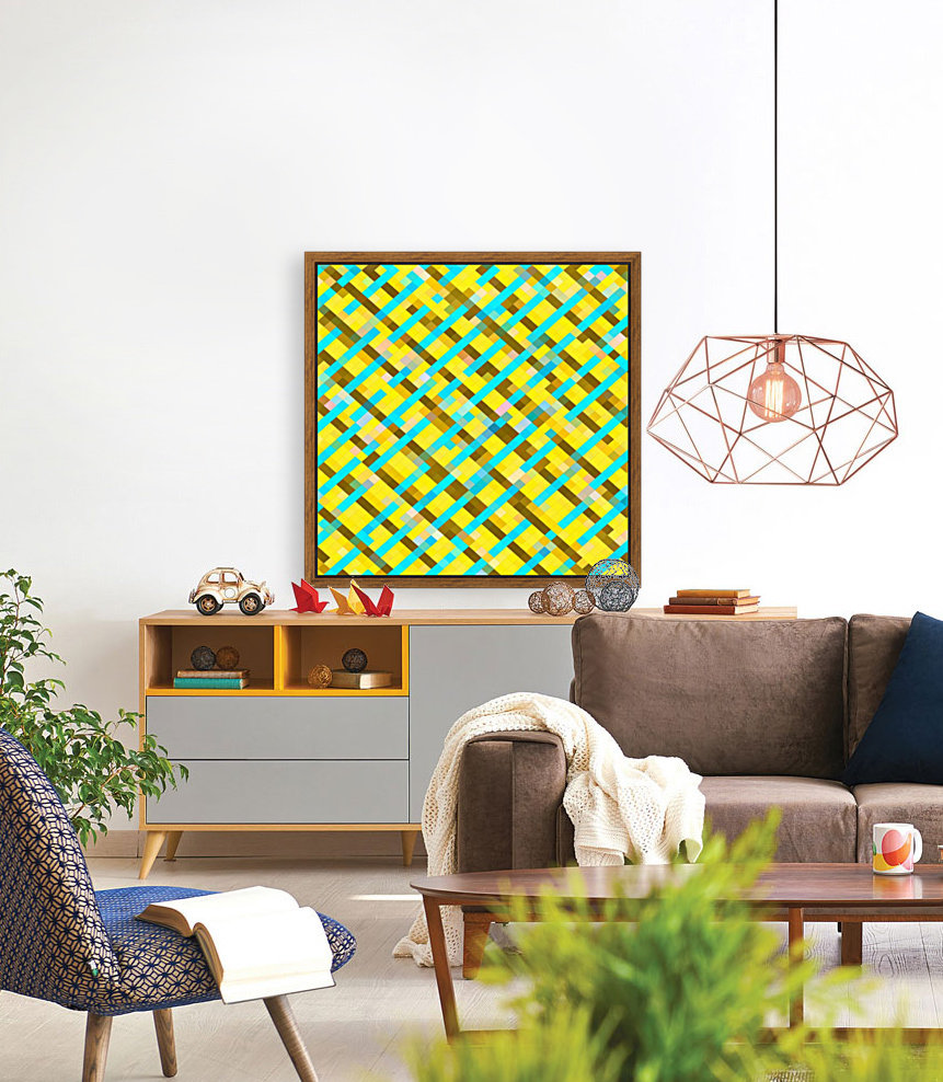 geometric pixel square pattern abstract background in yellow blue brown  Art