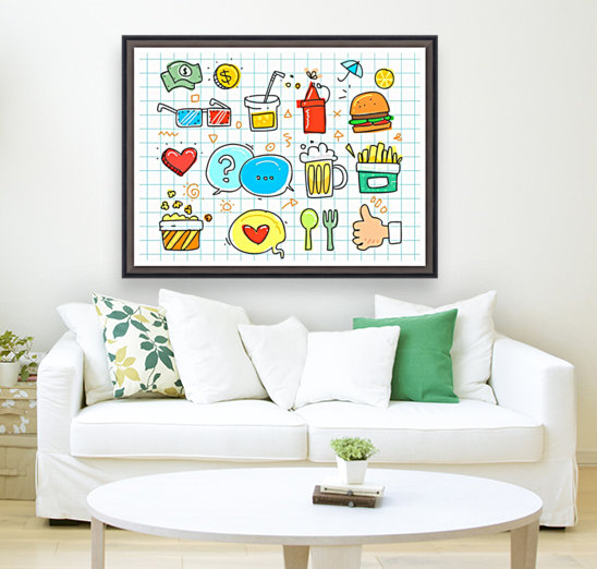 colorful doodle with Floating Frame
