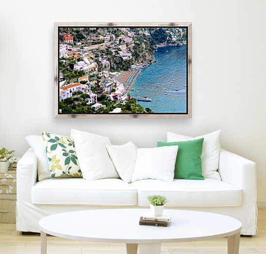 Aerial view of Positano Beach - Italy with Floating Frame
