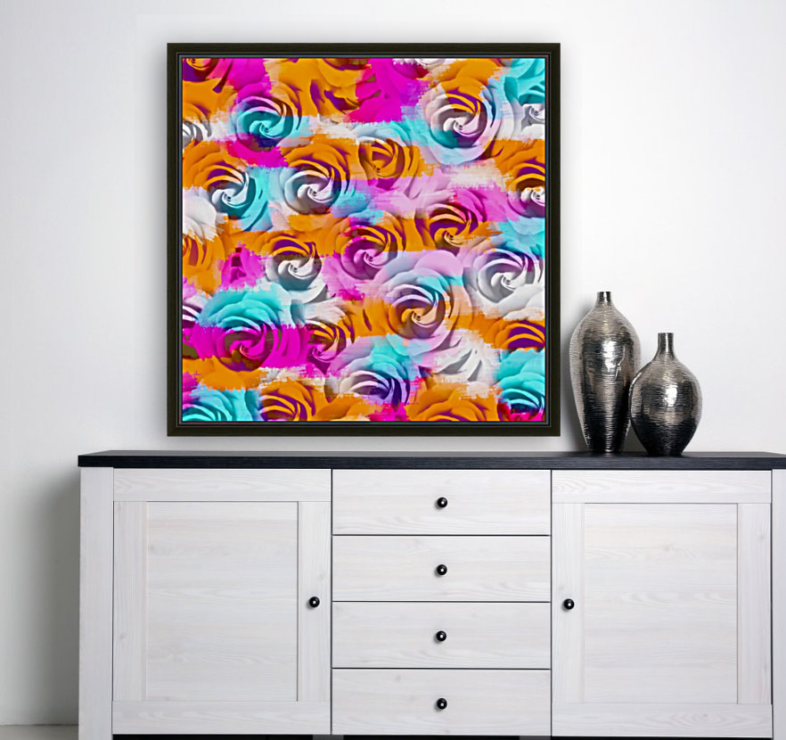 closeup rose texture pattern abstract background in pink orange blue  Art