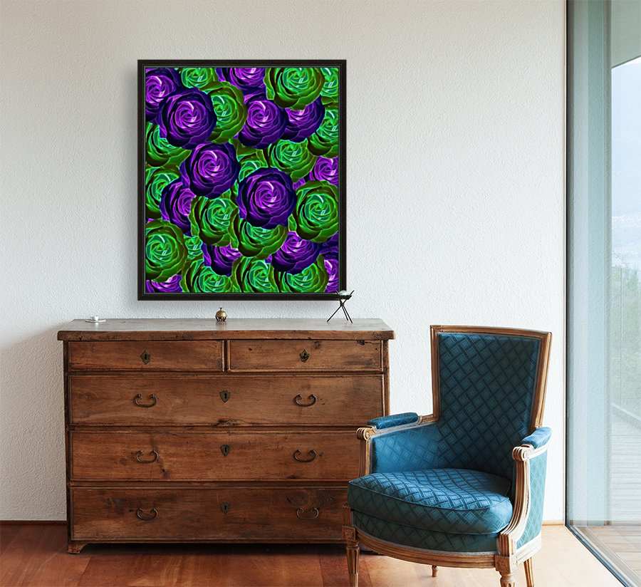 blooming rose texture pattern abstract background in purple and green  Art