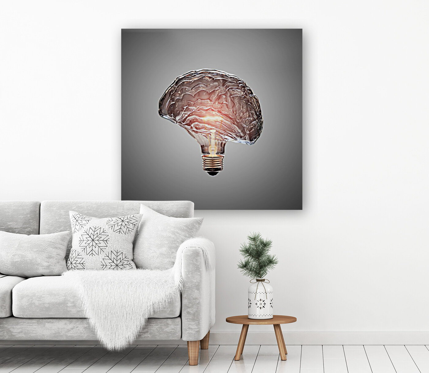 Light Bulb Brain with Floating Frame