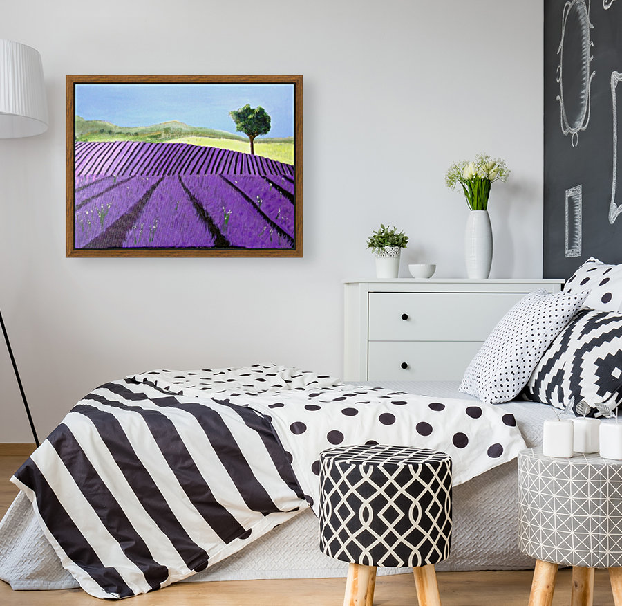 Purple Lavender Field Painting with Floating Frame