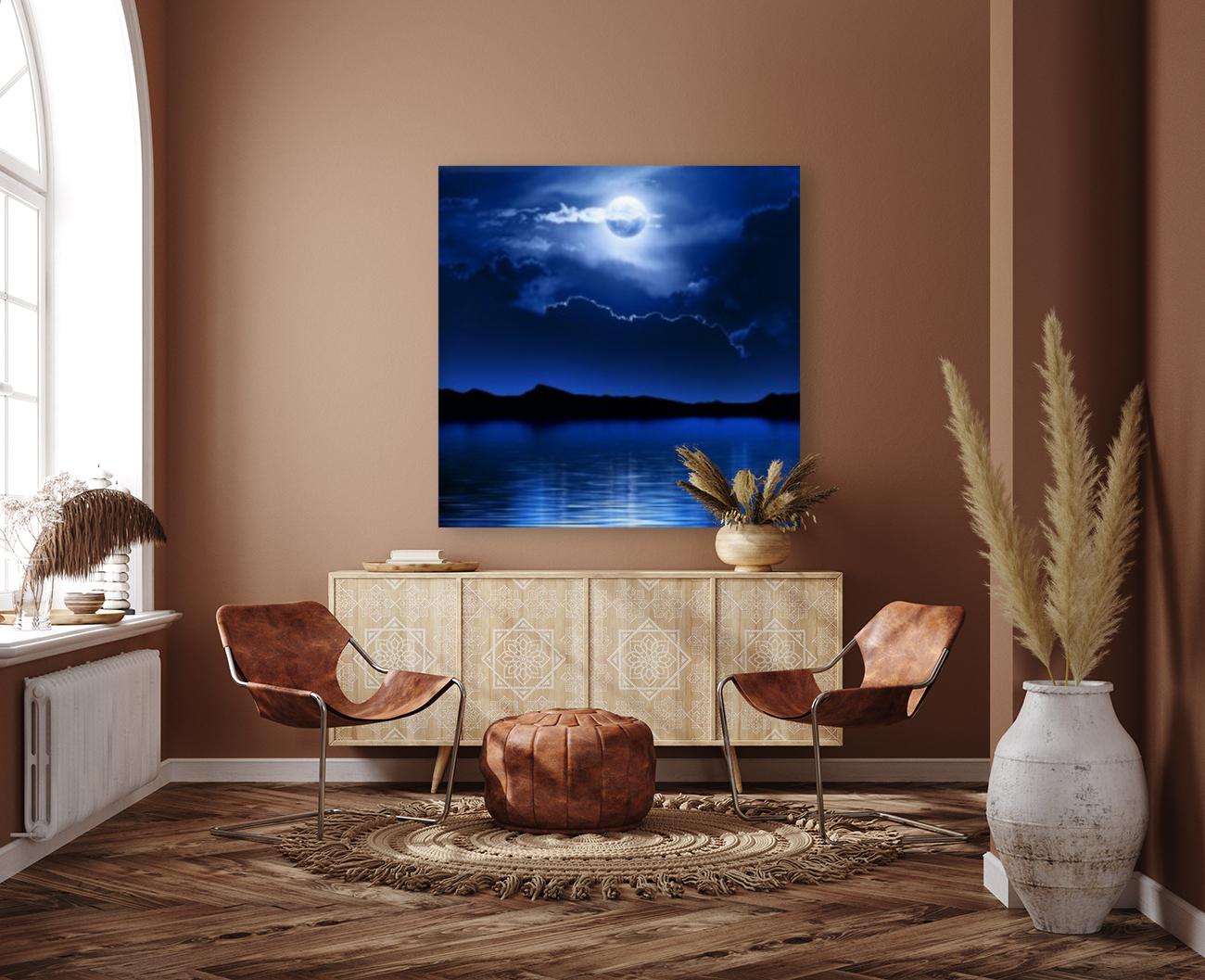 Fantasy Moon and Clouds over water  Art