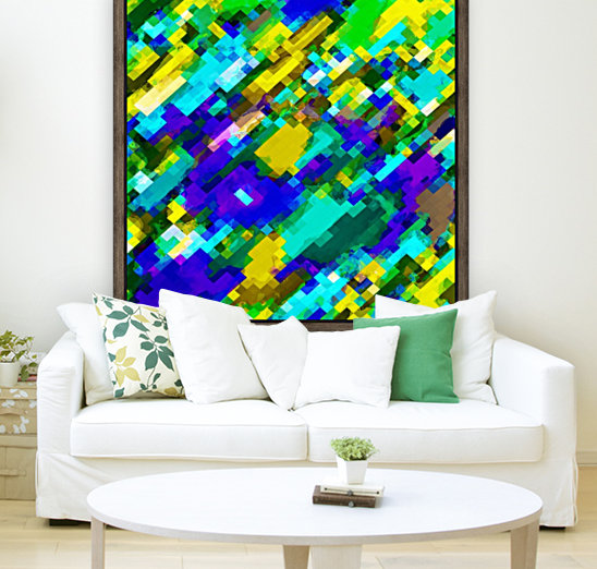 psychedelic geometric square pixel pattern abstract in green yellow blue purple  Art