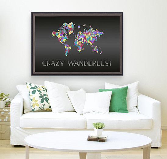 Graphic Art CRAZY WANDERLUST | Splashes with Floating Frame