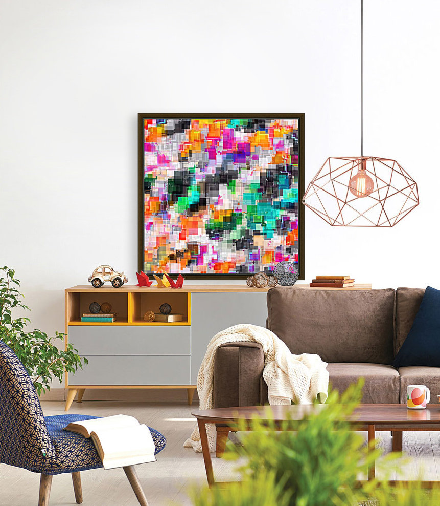 psychedelic geometric square pixel pattern abstract in orange green pink blue  Art