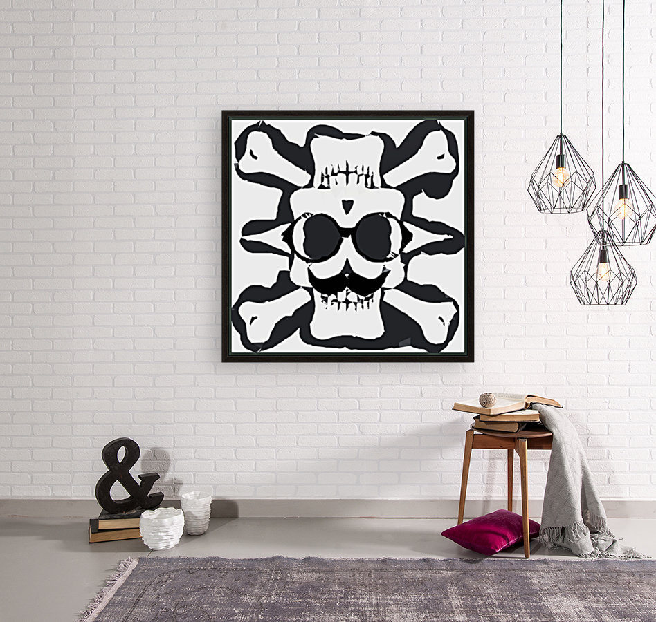 old funny skull and bone art portrait in black and white  Art