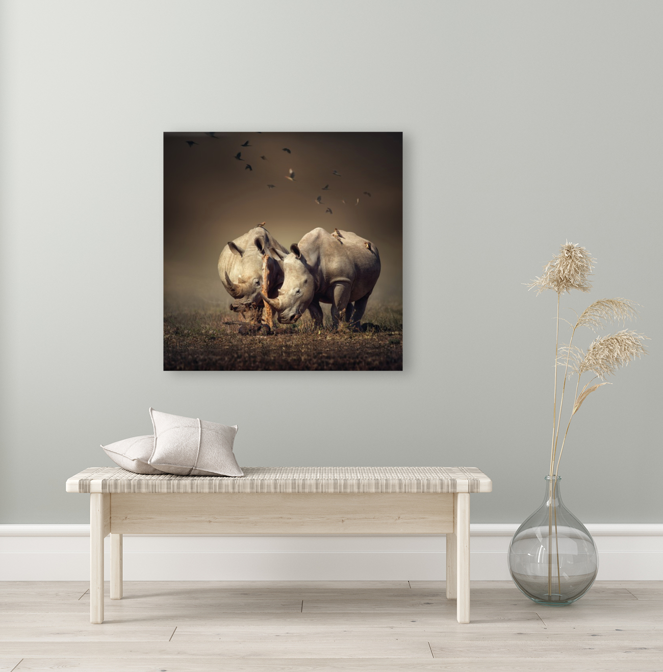 Two Rhinoceros with birds  Art