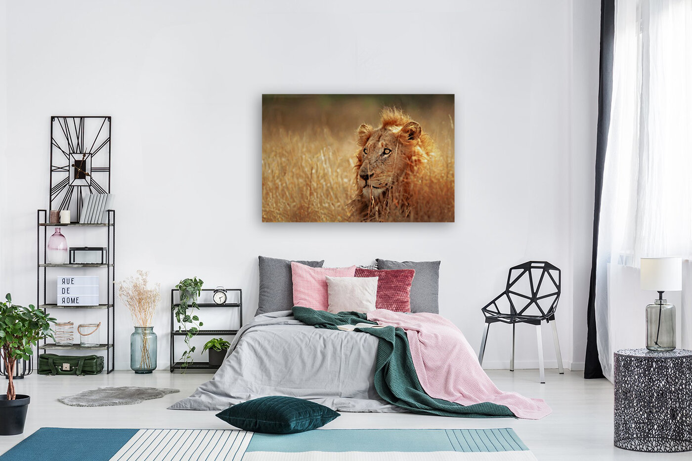 Lion in grassland  Art