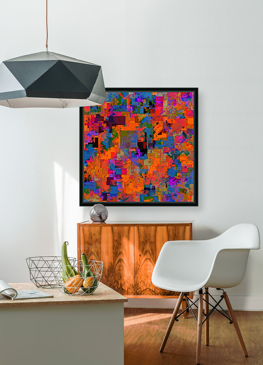 psychedelic geometric square pattern abstract background in orange blue red  Art