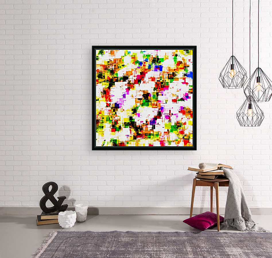 psychedelic geometric square pixel pattern abstract background in green red pink yellow  Art
