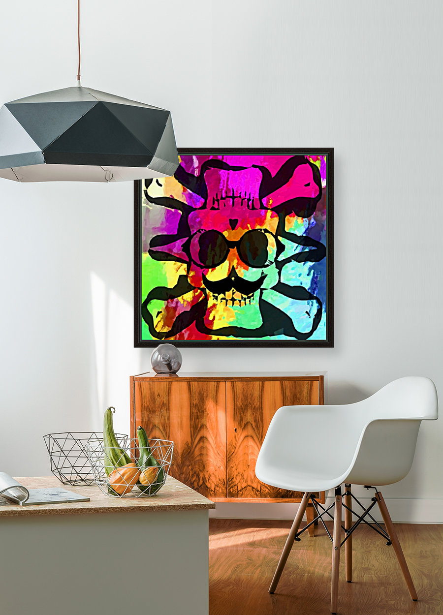 old vintage funny skull art portrait with painting abstract background in red purple yellow green with Floating Frame