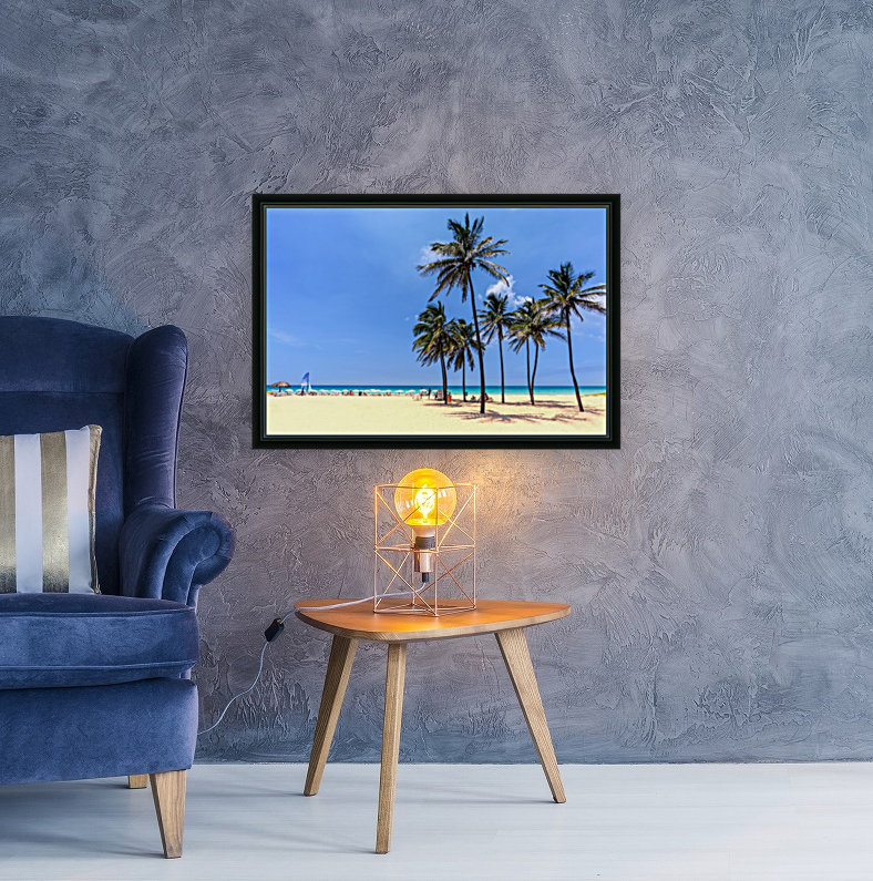vacation on the beach on the hot Caribbean islands with green palms, yellow sand, blue sky  Art