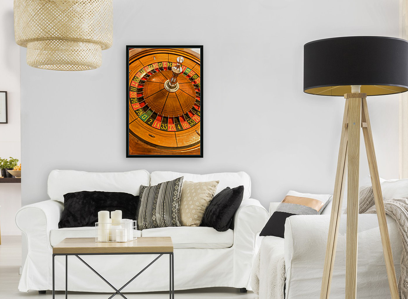 Round, wooden roulette wheel with numbers around the wheel  Art