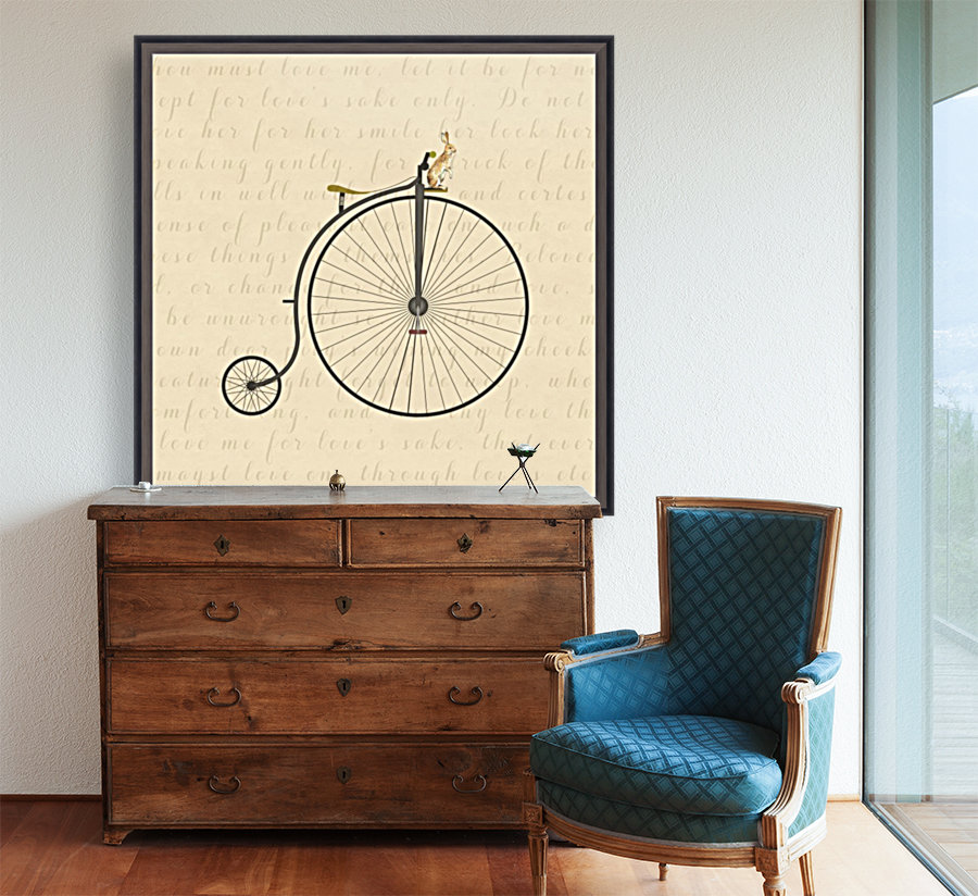 Vintage Penny Farthing Bunny  Art