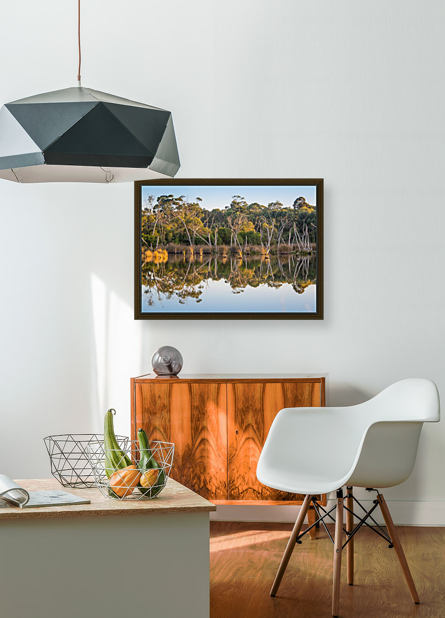 Evening river bank with glassy reflection  Art