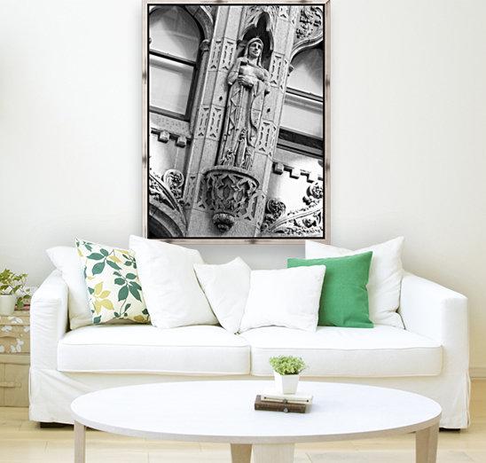 Caped Woman in Stone - B&W  Art