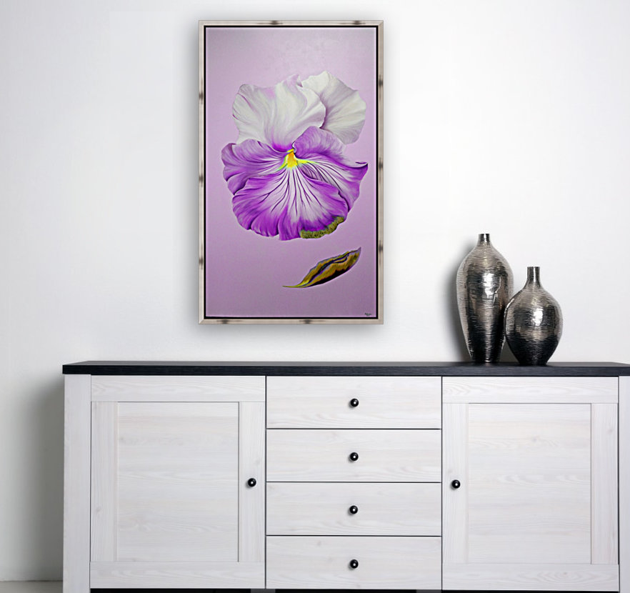 Purple Pansy with Floating Frame