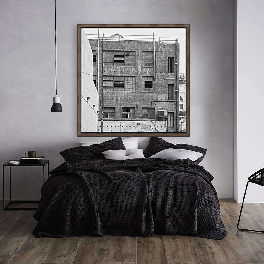B&W Brick & Windows In Alley - DTLA  with Floating Frame