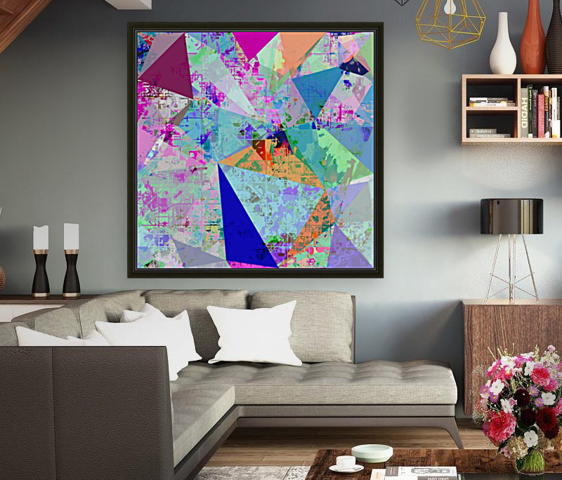 vintage psychedelic triangle polygon pattern abstract in blue pink green yellow  Art