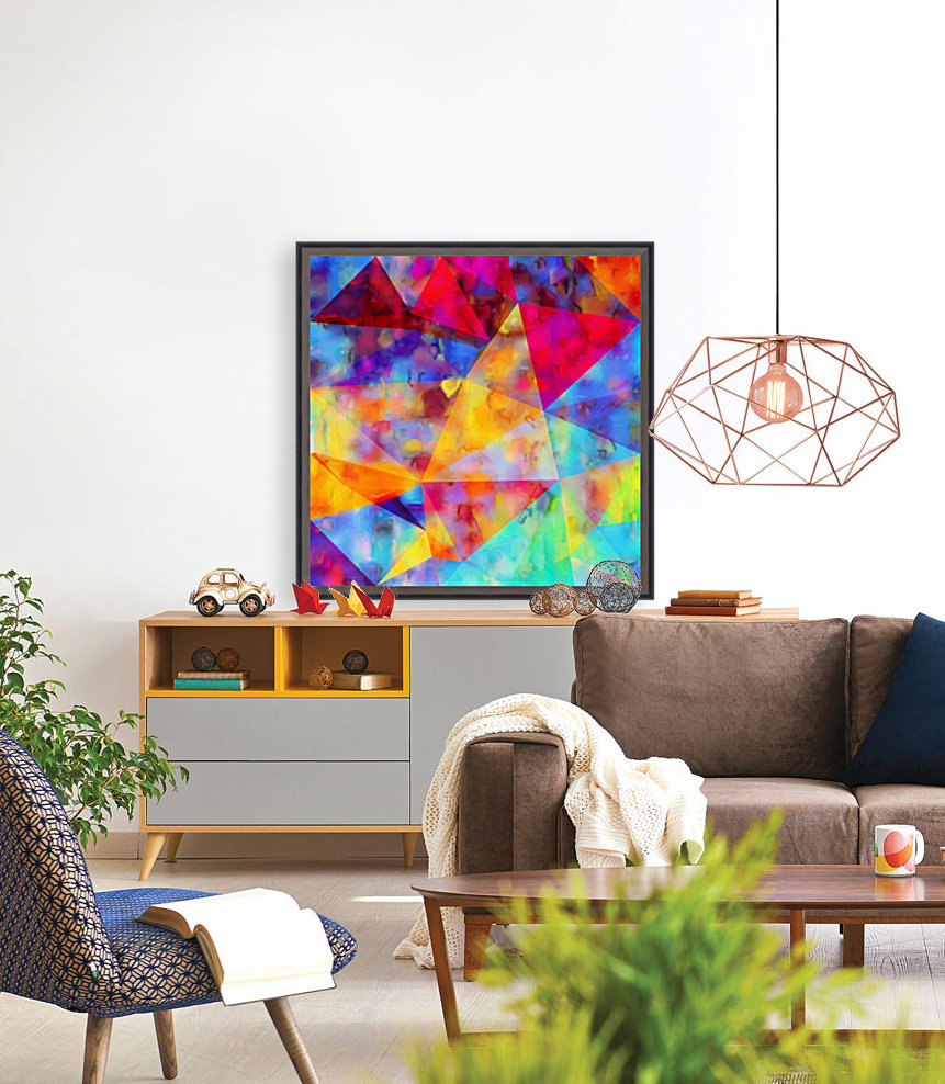 vintage psychedelic triangle polygon pattern abstract in orange yellow red blue purple  Art