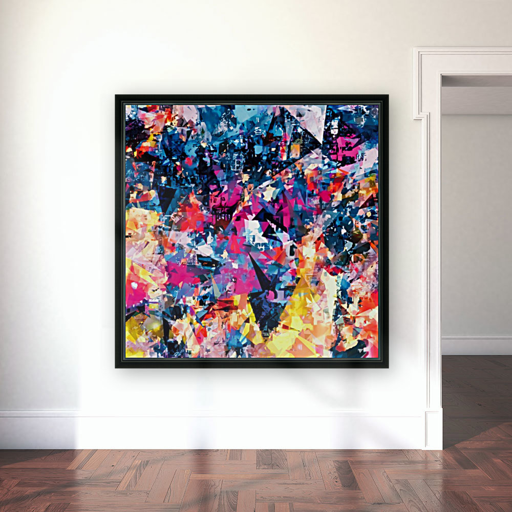 psychedelic geometric triangle pattern abstract in blue pink red yellow  Art