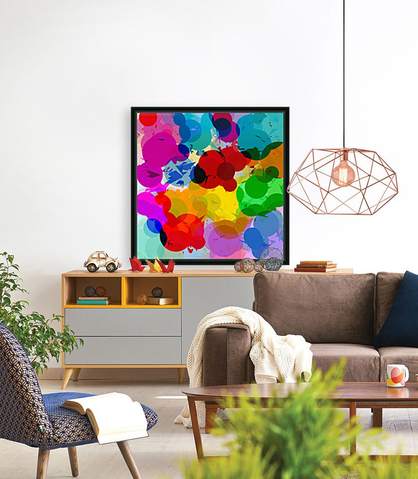 colorful geometric circle and triangle pattern abstract in red orange yellow green blue  Art
