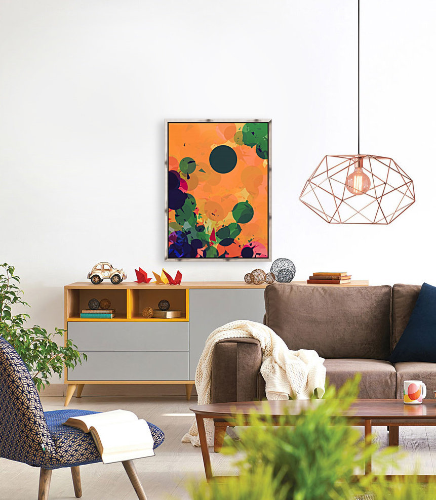 geometric circle and triangle pattern abstract in green orange red  Art