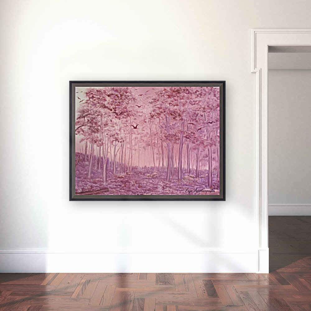Pink Woods with Floating Frame