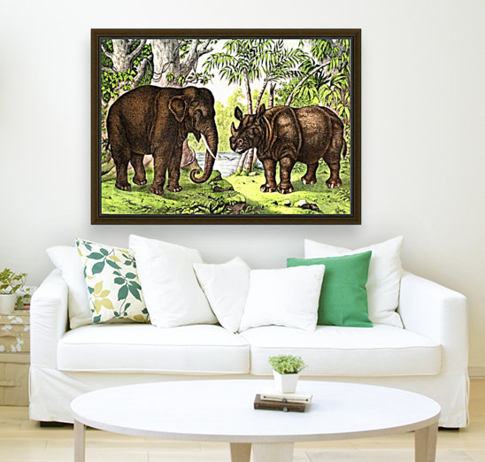 Elephant And Rhinoceros  Art