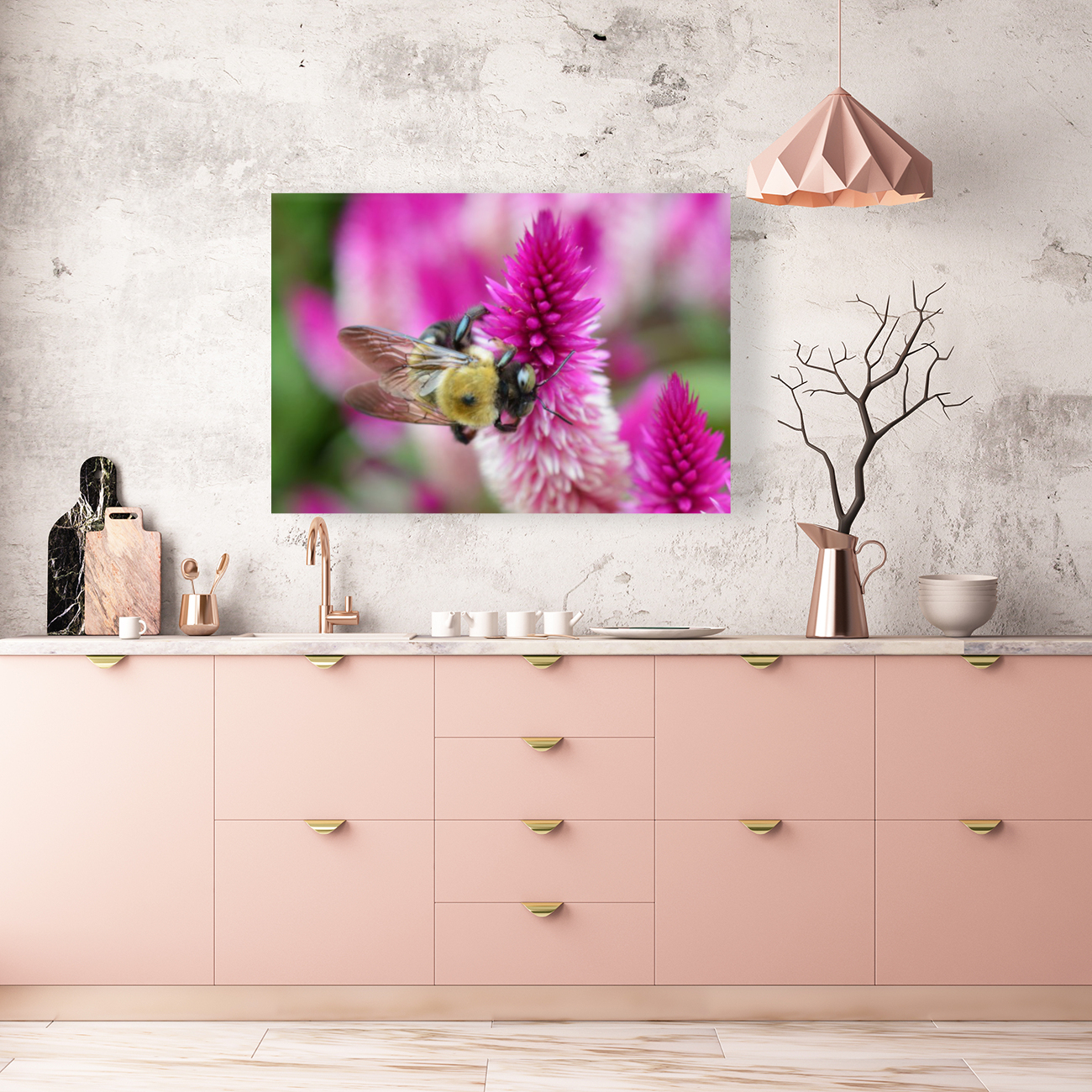 Bee On Pink Flower Photograph with Floating Frame