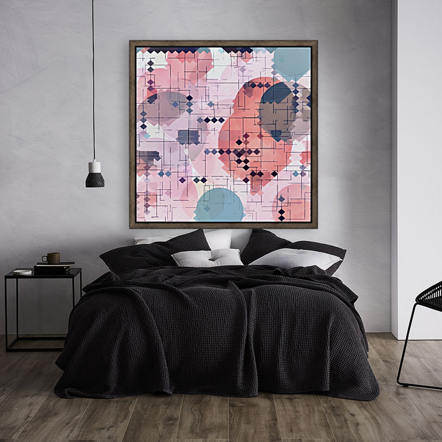 geometric square pixel pattern abstract with circle pattern background in red pink blue  Art