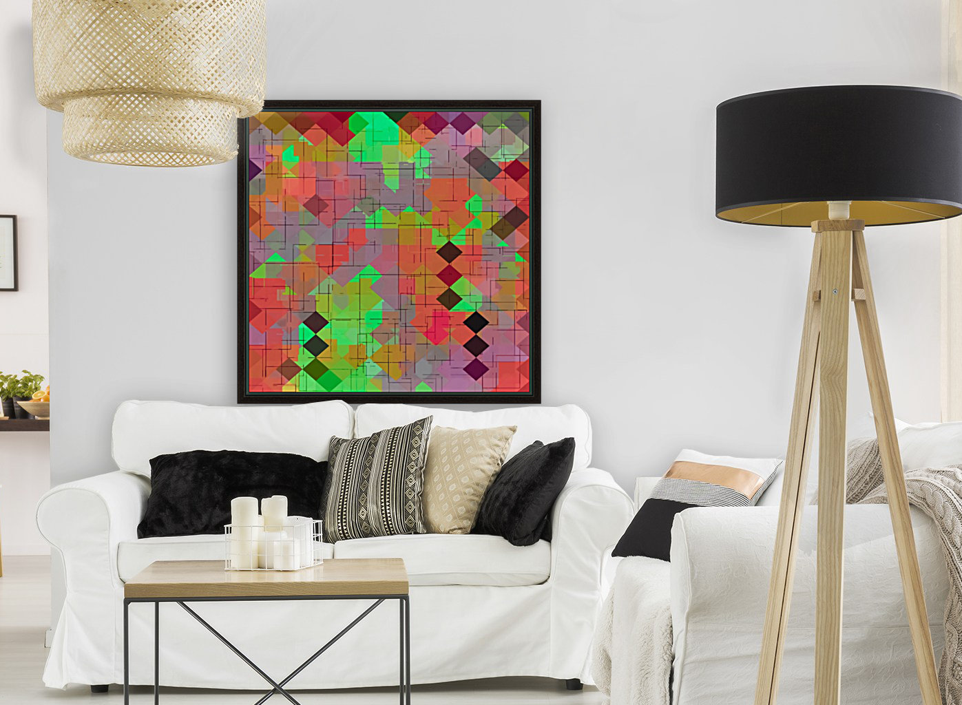 geometric square pixel pattern abstract in green orange red  Art