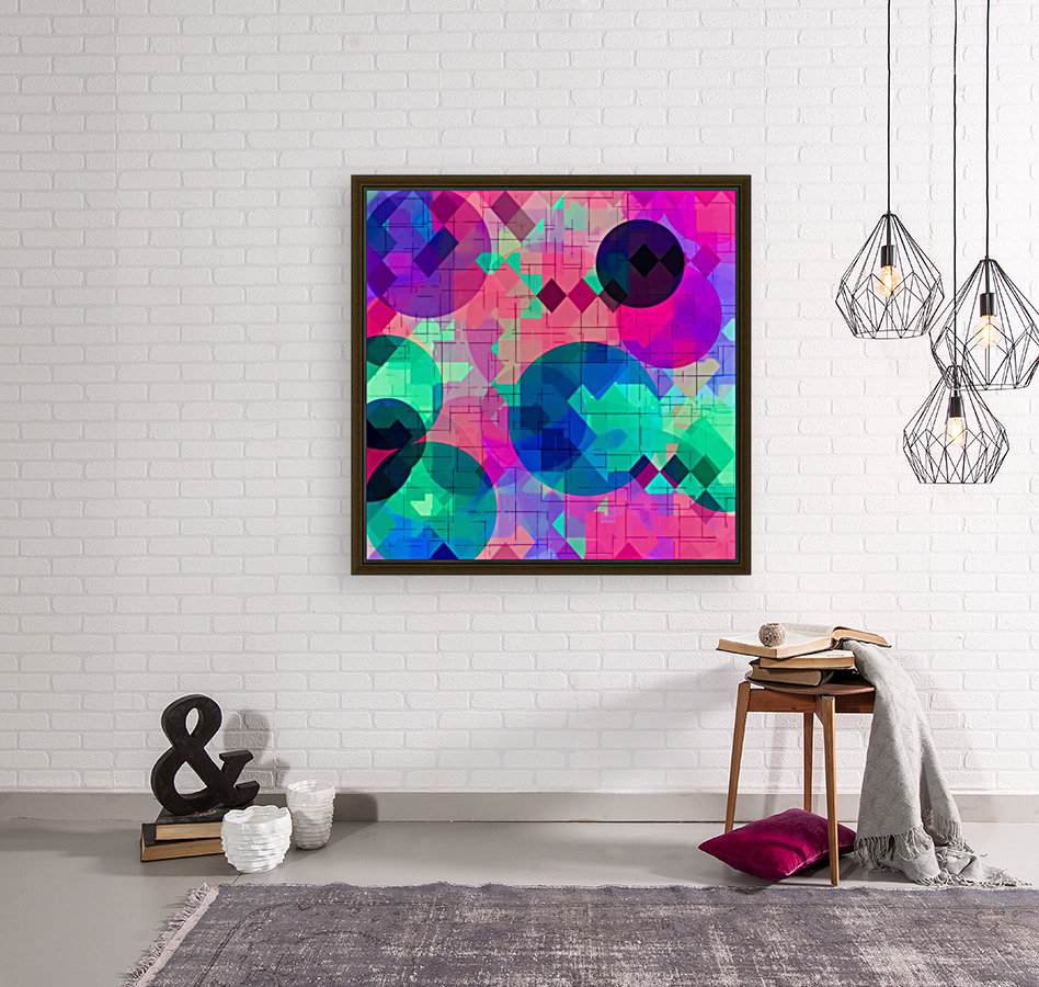 geometric square pixel and circle pattern abstract in pink blue green  Art