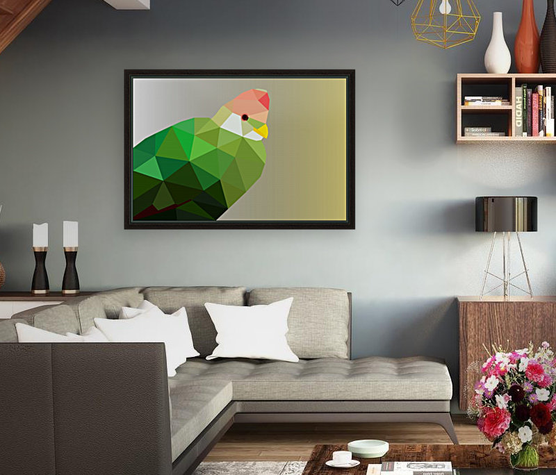 RED CRESTED TURACO LOW POLY ART  Art
