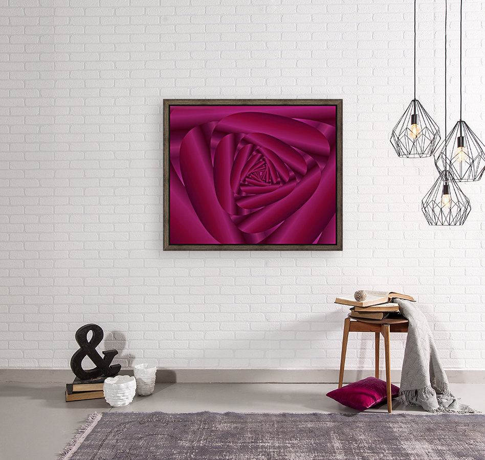 Pink Color Rose Swirl Art with Floating Frame
