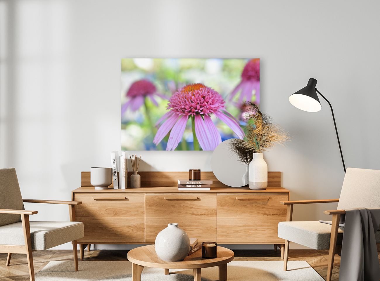 Pink Flowers Photograph with Floating Frame